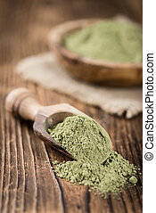 Stevia Powder on an old wooden table (close-up shot)