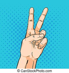 V sign hand. Fingers showing two. Vector illustration in pop art comic style