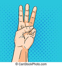 Vector hand. Fingers showing three. Illustration in pop art comic style