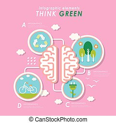 Think green flat design - Think green flat deisgn with brain...