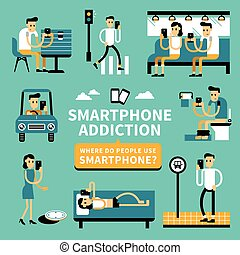 Smart phone addiction phenomenon in flat design