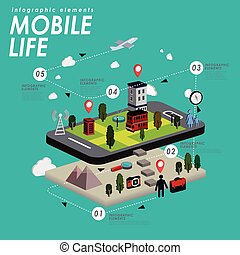 Mobile life flat design - Mobile life with lovely town and...