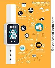 Smart watch flat design - Smart watch concept flat design...