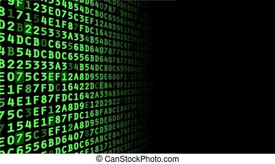 Hexadecimal Data - Green hexadecimal data stream with blank...