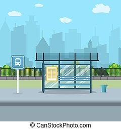 Bus stop with city background .