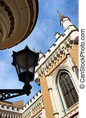 Street lamp on the background of the Guild building in the...