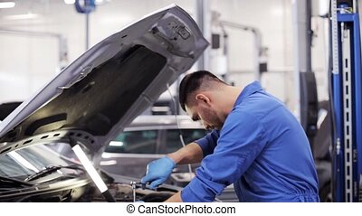mechanic man with wrench repairing car at workshop 11 - car...