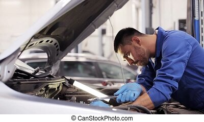 mechanic man with wrench repairing car at workshop 54 - car...