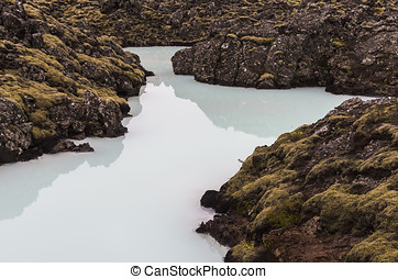 Pool of Blue Lagoon Iceland - Pool with blue water in the...