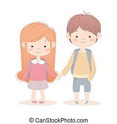 Boy and girl go to school.