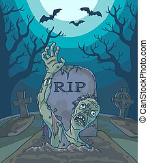 Halloween vector illustration with spooky zombie dead man,...