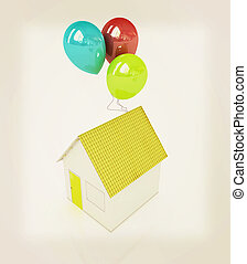 House with colorful balloons . 3D illustration. Vintage style.