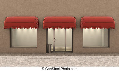 Shopfront windows in modern building