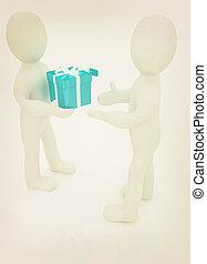 3d man gives gift 3D illustration Vintage style - 3d man...