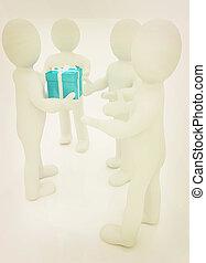 3d mans gives gifts 3D illustration Vintage style - 3d mans...