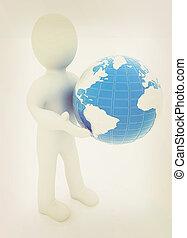 3d man gives earth 3D illustration Vintage style - 3d man...