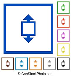 Height tool framed flat icons - Set of color square framed...