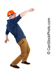Balancing young man or dodge the falling man worker in...