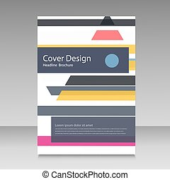 Straight lines abstract vector brochure template.