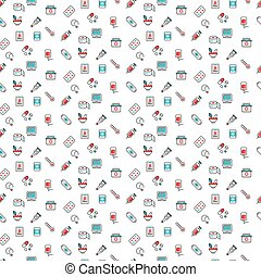 Medical symbols seamless pattern