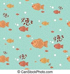 fish shaped cake seamless pattern