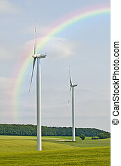 wind wheels with rainbow