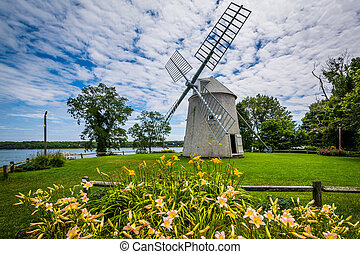 Gardens and the Jonathan Young Windmill, in Orleans, Cape Cod, Massachusetts.