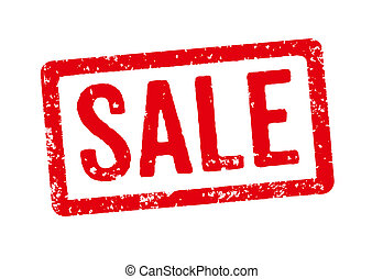 Red stamp on a white background - Sale
