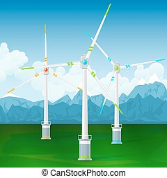 Wind Turbines on a Background of Mountains - Wind Turbines...