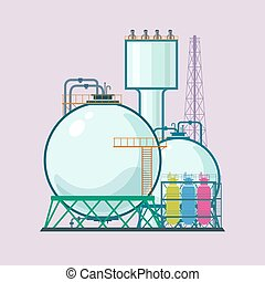 Industrial Plant Isolated , Refinery Processing of Natural...
