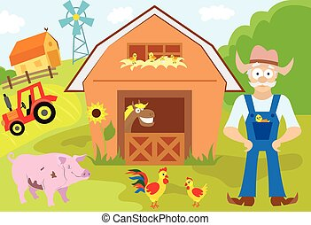 Big set of cartoon characters and elements of the farm....
