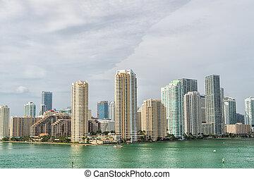 miami, floria City skyline - view of Miami downtown skyline...