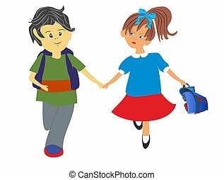 on the way to school, - composition of a girl and a boy who...