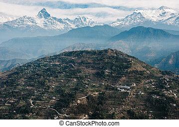 Sarangkot hill and the Machapuchare, Nepal - Sarangkot hill...