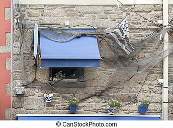 Concarneau in Brittany - house facade in the old town of...