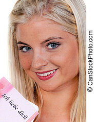 Woman with a romantic love letter - Young woman with a...