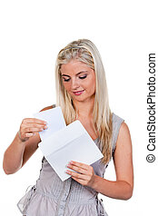 Woman is a letter in an envelope