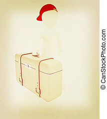 Leather suitcase for travel with 3d man . 3D illustration. Vintage style.