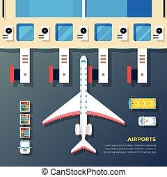 Airport Apron Plane At Jet Bridge - Airport apron planes...