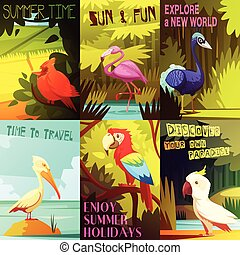 Exotic Birds 6 Posters composition Poster - Exotic colorful...