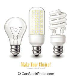 Led Lightbulb Set - Three led lightbulbs of different shape...