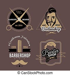 Barbershop Emblems Set - Vintage barbershop emblems set with...