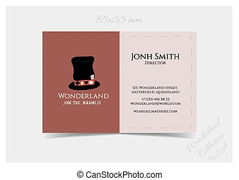 Business Card Template - Hatter Hat from Wonderland. Print...