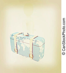 Leather suitcase for travel with 3d man 3D illustration...
