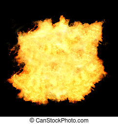 Flaming fireball  - Flames isolated on black background