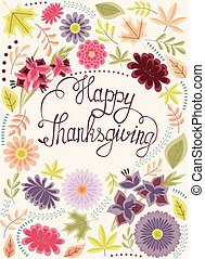 Vintage greeting card happy thaksgiving - Vector vintage...
