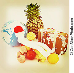 3d man with citrus,earth and traveler's suitcase . 3D illustration. Vintage style.