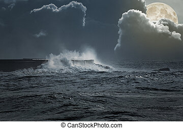 Sea storm in a full moon night