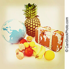 Citrus,earth and traveler's suitcase . 3D illustration. Vintage style.
