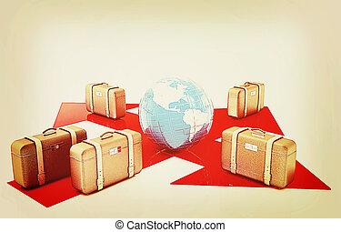 Pojęcie, Ilustracja, bagaż, rocznik wina, lotnisko,...